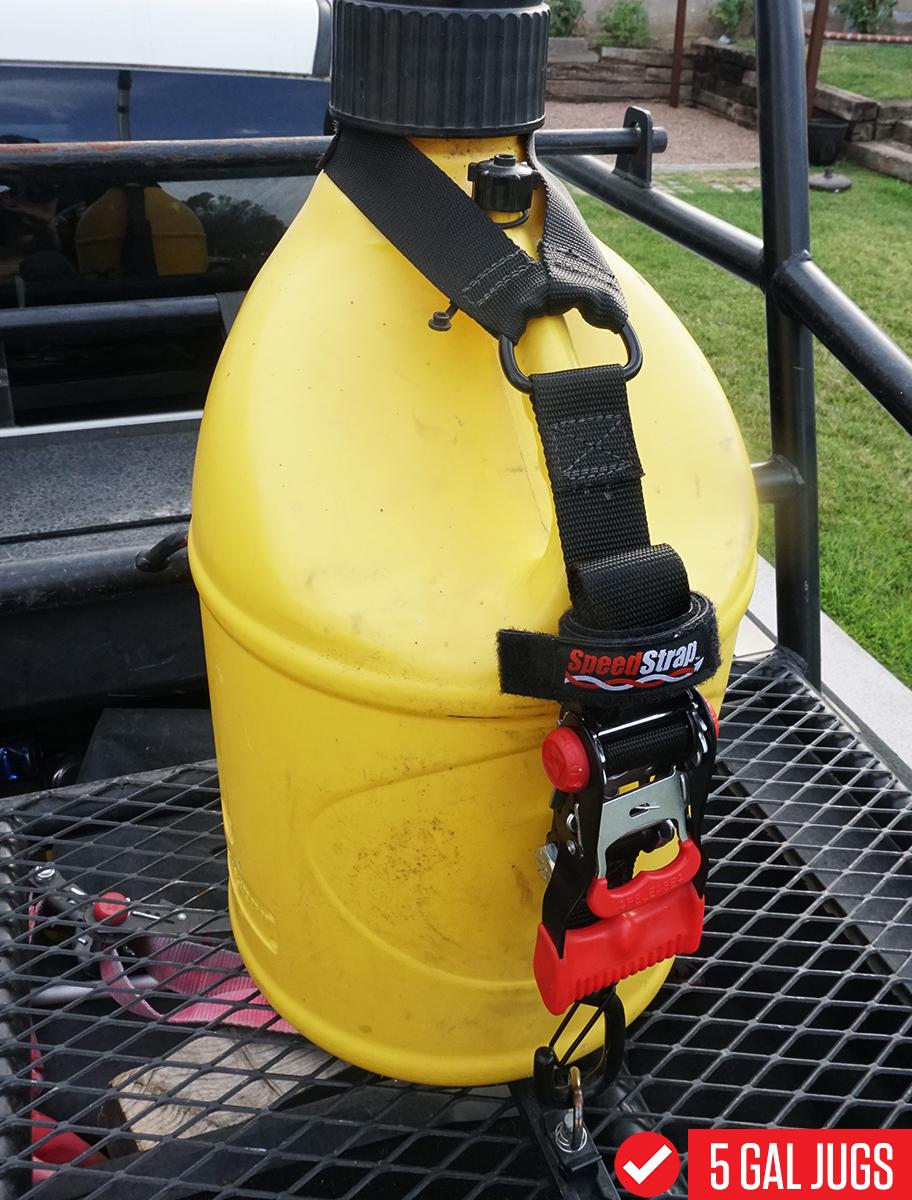 SpeedStrap Fuel Jug Tie-Down installed on a 5 Gallon Utility Jug