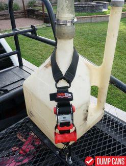 SpeedStrap Fuel Jug Tie-Down installed on a Dump Can