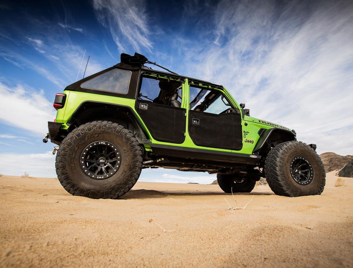 Bestop Jeep Rubicon side profile in the desert